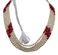 Freshwater Pearl with Red Coral Oval Beads 5 Strands 18 Inches Long Necklace, Traditional Beads Necklace