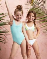 Guangzhou manufacturer oem girls swimsuit one piece solid color marium children girls swimwear