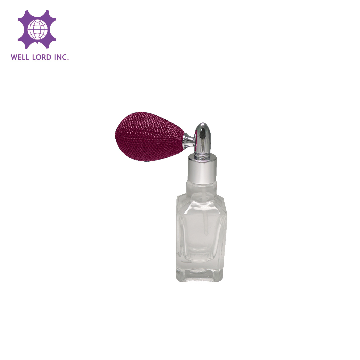 Splendid 13ml glass bottle with dark orchid purple bulb rectangular glass bottle sprayer