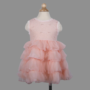 Pink princess ruffled dress for baby girls dress for baby girl children