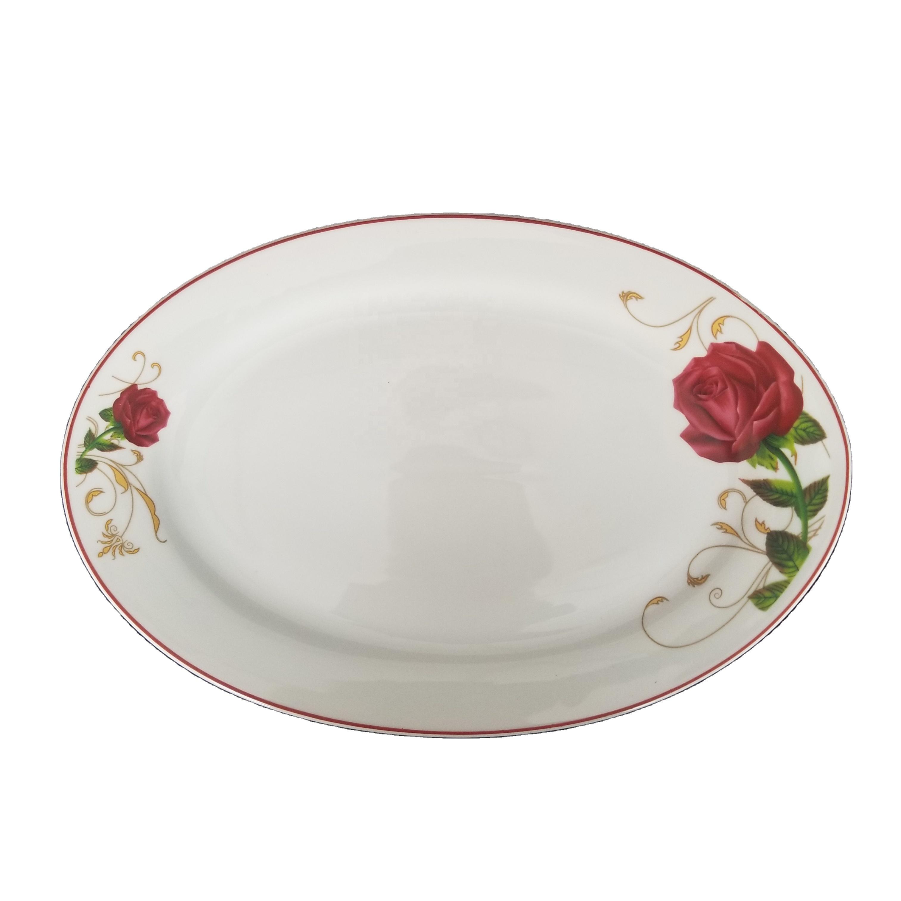 stocked Oval shape ceramic plate plain white