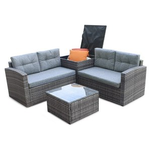 Direct Global Trading Four Seater Rattan Garden Sofa Set with Side Table and Storage Boxes Includes Cushions and Glass Topped Co