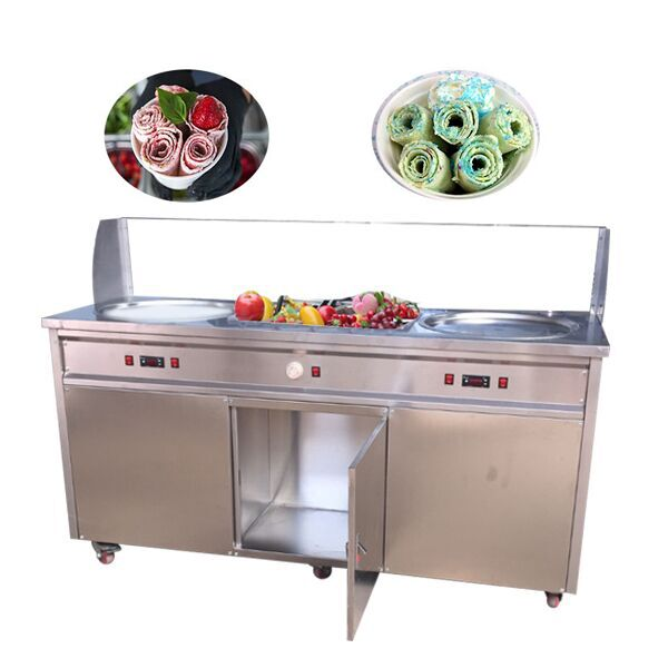 F700 Top quality double pan stainless steel thai <strong>ice</strong> <strong>cream</strong> rolls fried <strong>ice</strong> <strong>cream</strong> <strong>machine</strong>
