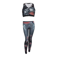 Ladies Sublimation gym Sets With Zipper Bra and Comfortable Legging