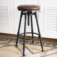 Industrial iron bar stool chair retro industrial design rotary lifting high bar chair