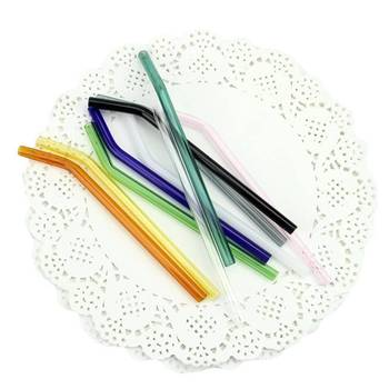 Reusable Borosilicate straight and Bent Color Glass Straws with cleaning brush
