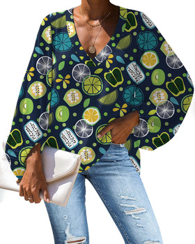 Chinese Clothes Women Clothing Green Fruit Print Womens Casual Tie Up V Neck Top Lantern Sleeve Blouse Loose Tunic S-XXL