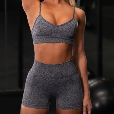 New Seamless Women Sweat Shorts Suits Two piece Set Yoga Sports Bra and Shorts Set