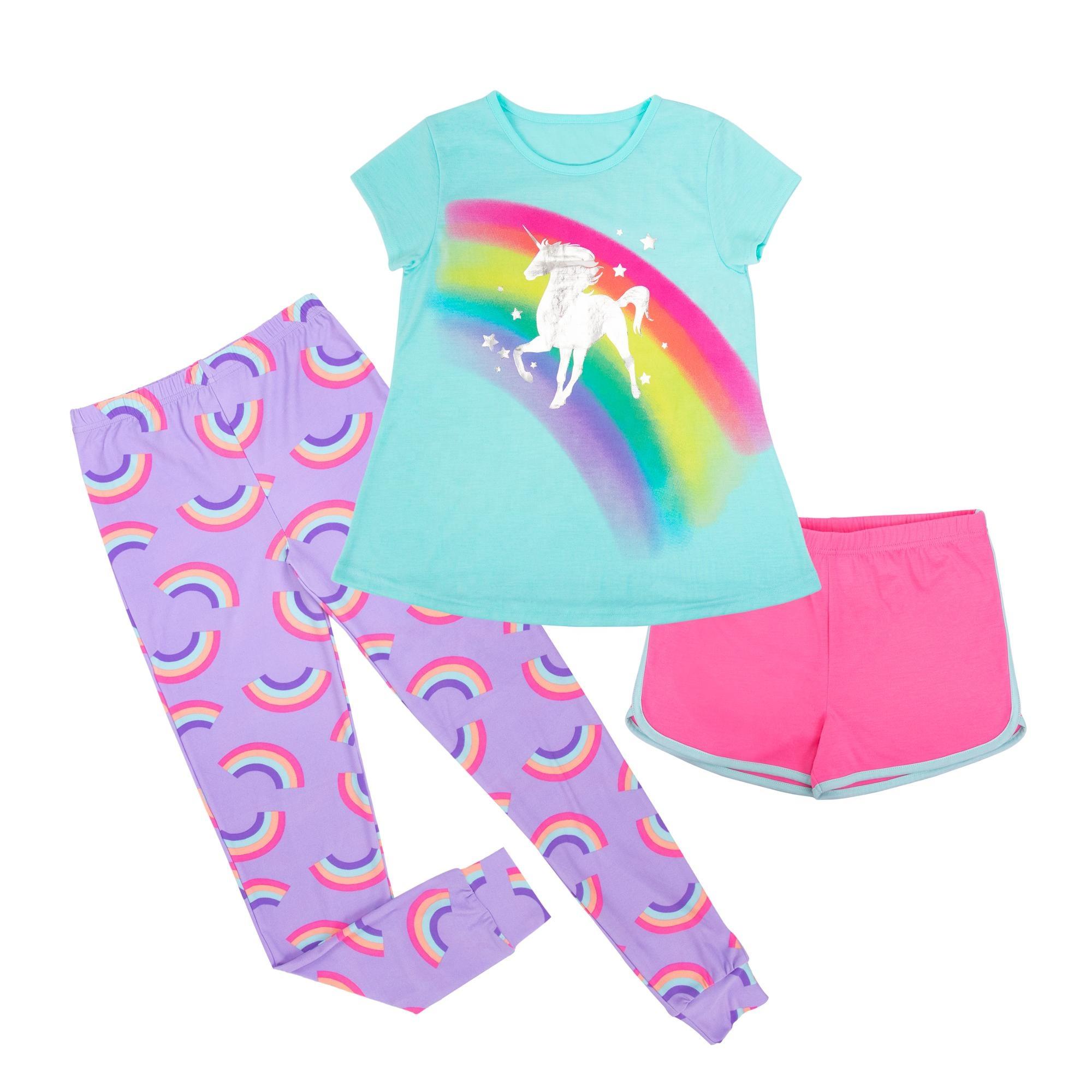 Muda Gadis Grafis Rainbow Unicorn Tee Shirt Seluruh Cetak Anak-anak Subur Celana Lounge OEM Anak-anak Pakaian Piyama FR Baju Tidur