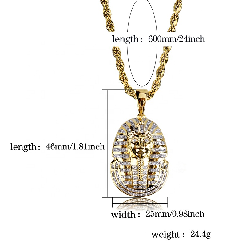 product-BEYALY-Chic Engraved Handmade Gold Pharaoh Necklace Hiphop Jewelry-img
