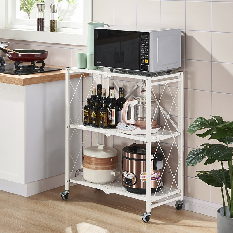 Modern antirust metal foldable home kitchen storage rack <strong>holder</strong> with wheels