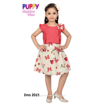 Animal print frocks in white color for girls specially for kids