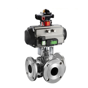 High Pressure Pneumatic Actuator 3 Way Ball Valve Mounted Limit Switch and Electro Pneumatic Valve Positioner