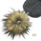 17cm Large Detachable Faux Fur Pom Pom Beanie Hats Bobble With Press Stud 20 Colors Available