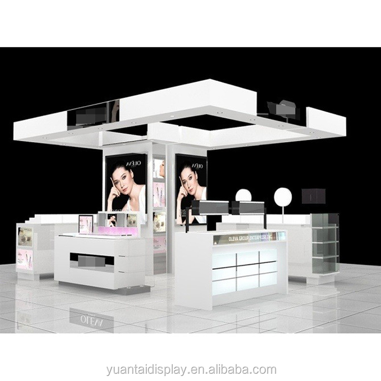 Customized cosmetic shop interior counter display cabinet furniture shelf