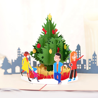 Wholesale manufacturer 3D Laser Cut Wholesale Selfie Christmas tree pop up card great service and quality