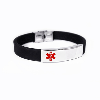 Free Engraving Alert ID Bracelet Stainless Steel Rubber Silicone Emergency Type 1/2 Diabetic Medical Bracelets