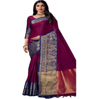 Indian Designer Purple Colour Ethnic Traditional And Wedding Wear Pure Soft Cotton Work Saree Party wear