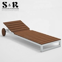 high quality modern outdoor patio aluminium frame poly wood chaise lounge beach recline sunbed with wheels