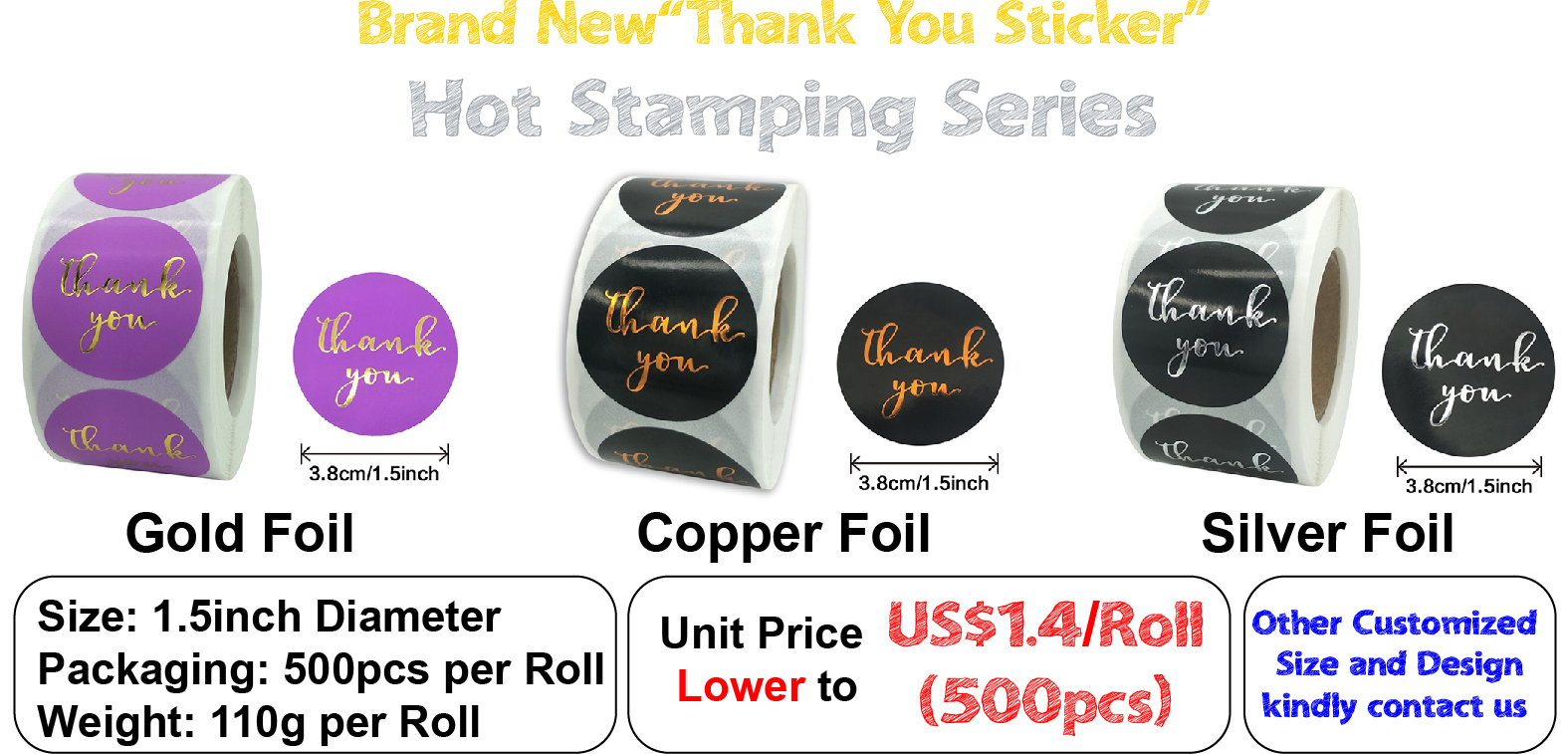 Adhesive Round Foil Printed Black 1.5 Inc Labels Roll Paper Floral Gold Pink Gift Tag Label Custom Stickers Thank You Sticker