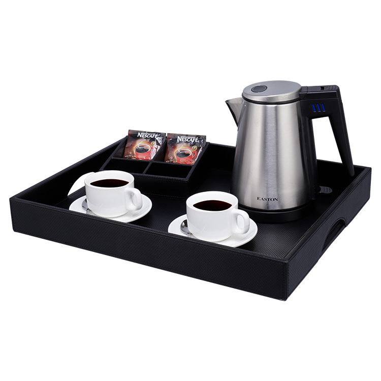 Stainless steel finished 0.8 litres tea electric kettle with tray set for hotel use