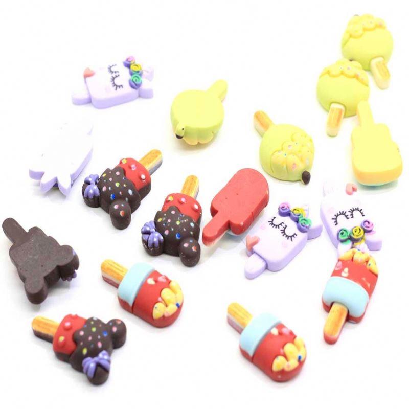 Assorted 100Pcs Resin Ice-Cream Cabochons Kawaii Cartoon Flatback Popsicle Cabochons Slime Charms Resin Flat Back Popsicle Cabs