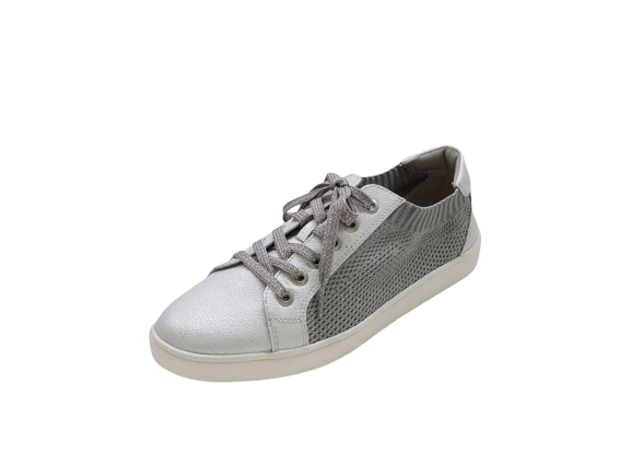 silver women flat breathable lace up shoes