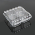 4 compartment compartments clear disposable plastic food container tray with cover