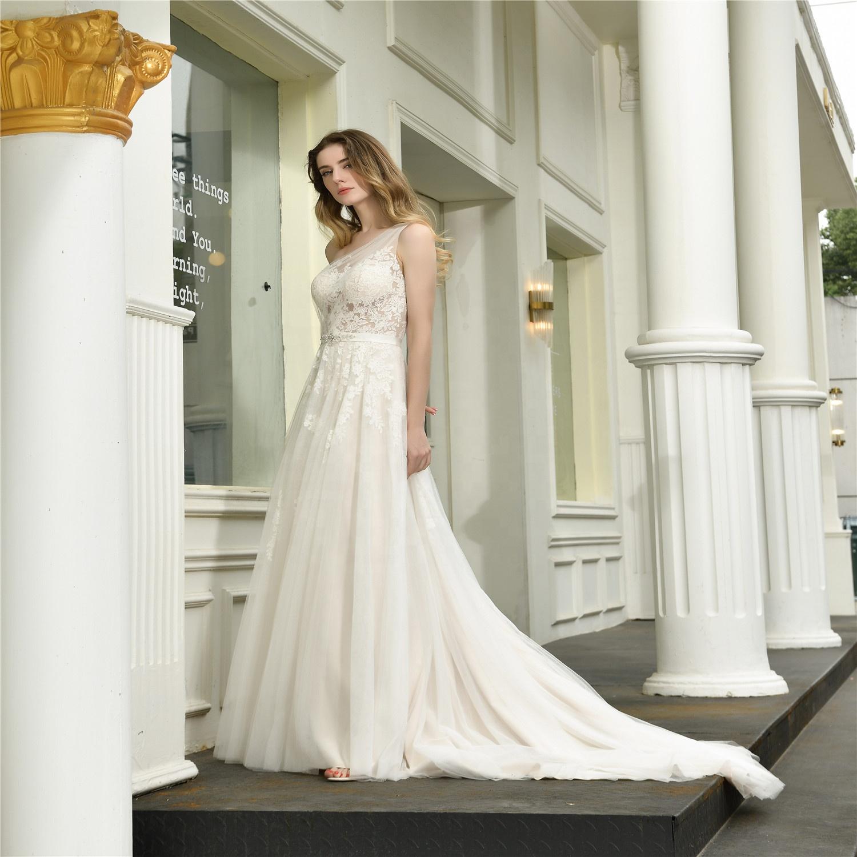 lace cheap wedding gowns latest wedding bridal dresses One Shoulder Dreamy tull  Boho Lace Bride beach Wedding Dress 2020