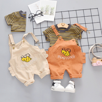 Girl summer suspenders pants small bee pattern + stripe T-shirt set kids girl summer kids clothing wholesale