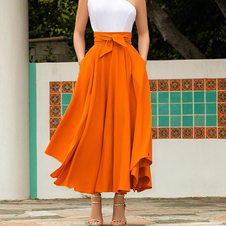 Solid Color High Waist Large Swing Front Tie Women Summer Maxi Skirt