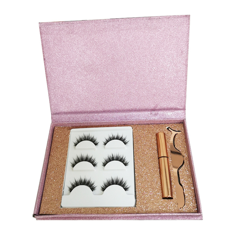 Beter Selling Beauty Roze Paars LOGO Print Box 3Pairs Mink Wimper Magnetische Wimpers Eyeliner Kit Met Pincet