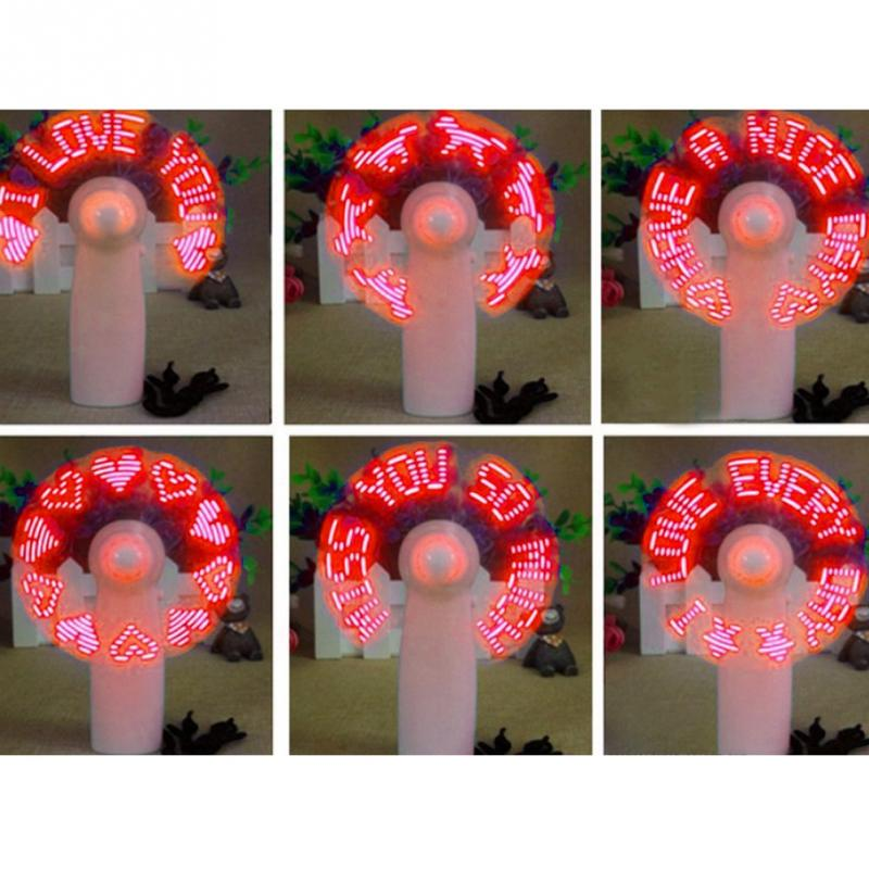 Pink gift AAA battery custom message LED hand held mini usb fan with customized led message led flashing message mini fan led