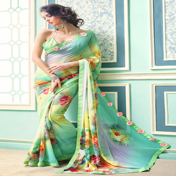 Party Wear Ethnic Indian Georgette Saree with Flowers Embellished on Border and International Styling