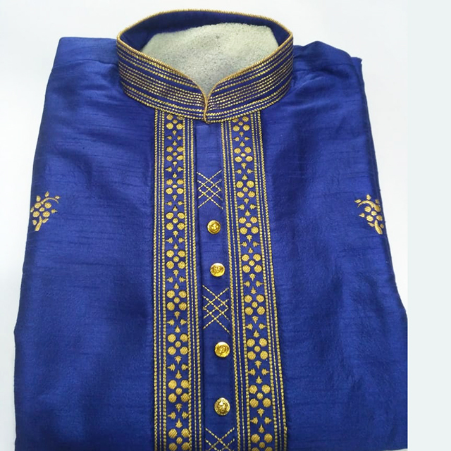 Festival Wear Latest Designer Embroidery Work Art Silk Mens Kurta Collection