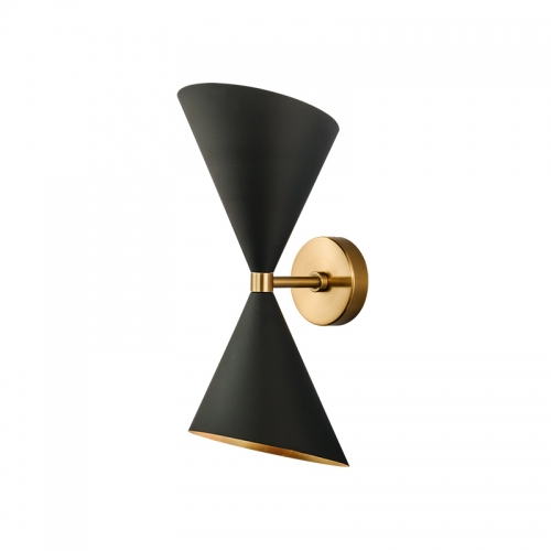 Modern 2 Light Up and Down Wall Sconce in Black/Brass