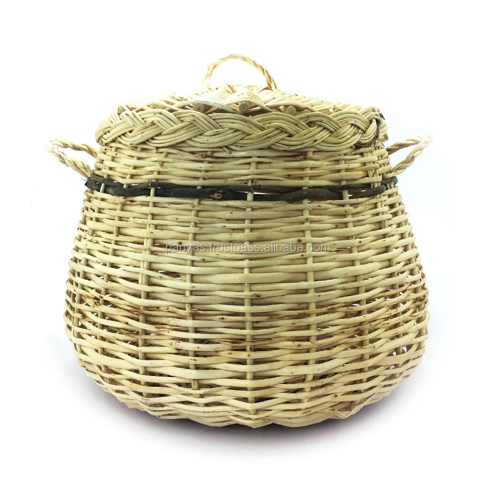 Traditional Turkish Style Hand Made Wicker Basket With Lid And Handle Baskets Handles