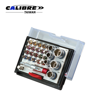 "CALIBRE Hand Tools 1/4"" Dr 28pc 180 Degree Color Ring Bit Set"