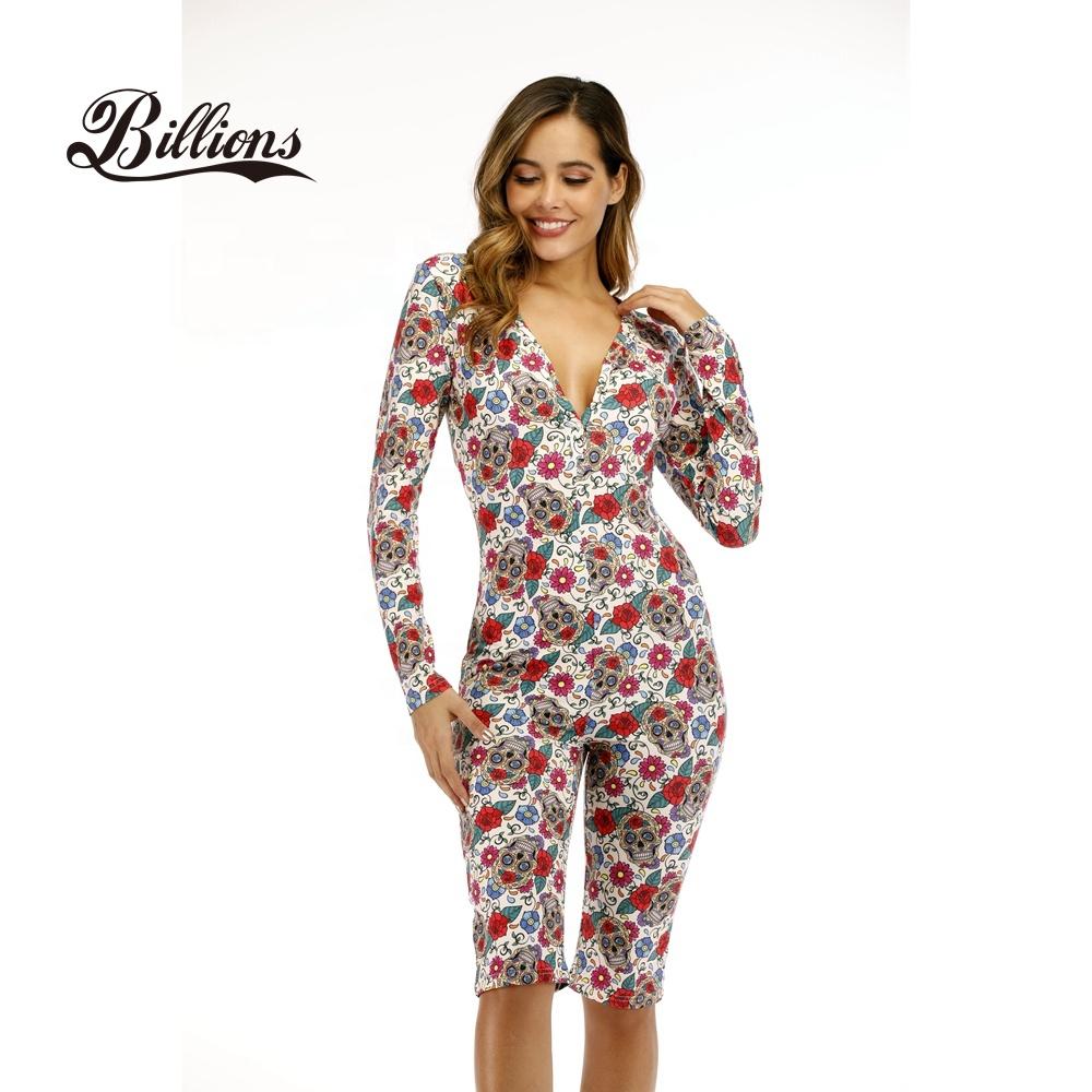 Women Snap Tight Crotch Thermal Sleepwear Pajamas Onesie ...