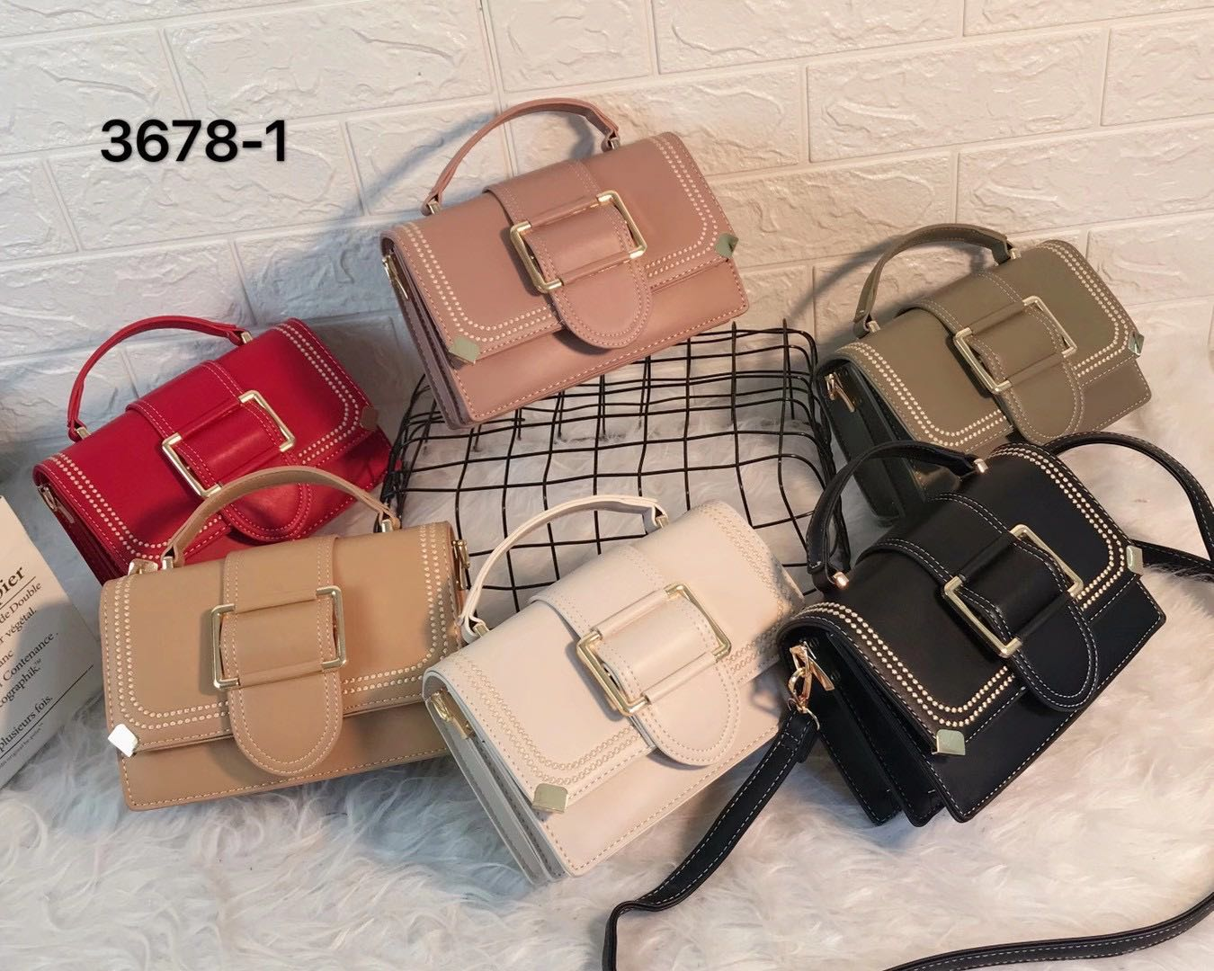 chain solid color lock casual shoulder bag