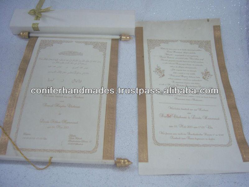 Scroll Wedding Invitations Custom Printed In German And Arabic ...