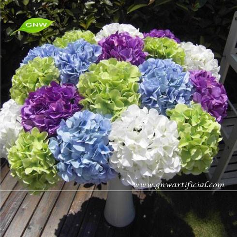 wholesale artificial hydrangea flowers silk petals for wedding decoration gnw flh03 buy. Black Bedroom Furniture Sets. Home Design Ideas