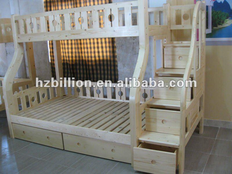 Enfants et enfants bois massif lits superpos s avec des escaliers en couleur - Lit superpose triple bois ...